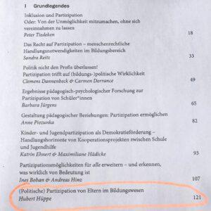 """Inhalt Buch """"Inklusion und Partizipation in Schule und Gesellschaft"""""""