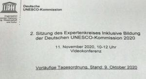 Tagesordnung zur Onlinesitzung 11.11.20 Inklusive Bildung